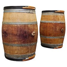 Vintage Oak Wine Barrels Bordeaux France
