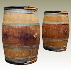 Vintage Oak Wine Barrels Bordeaux France