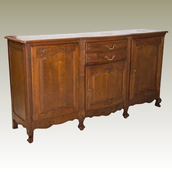 19th Century  Louis XV style Buffet  Parquet Top with drawers and shelving