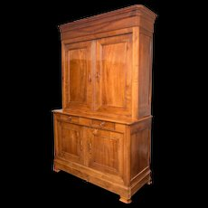 Antique French 19th Century Louis Philippe Deux Corps Armoire in Cherry