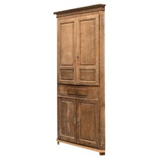 Gustavian Washed Oak Corner Cabinet 18th Century