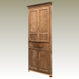 Gustavian Washed Oak Corner Cabinet 18th Century