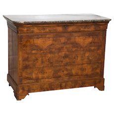 Louis Philippe Commode 4 Drawer Mahogany Marble Top France C.1890