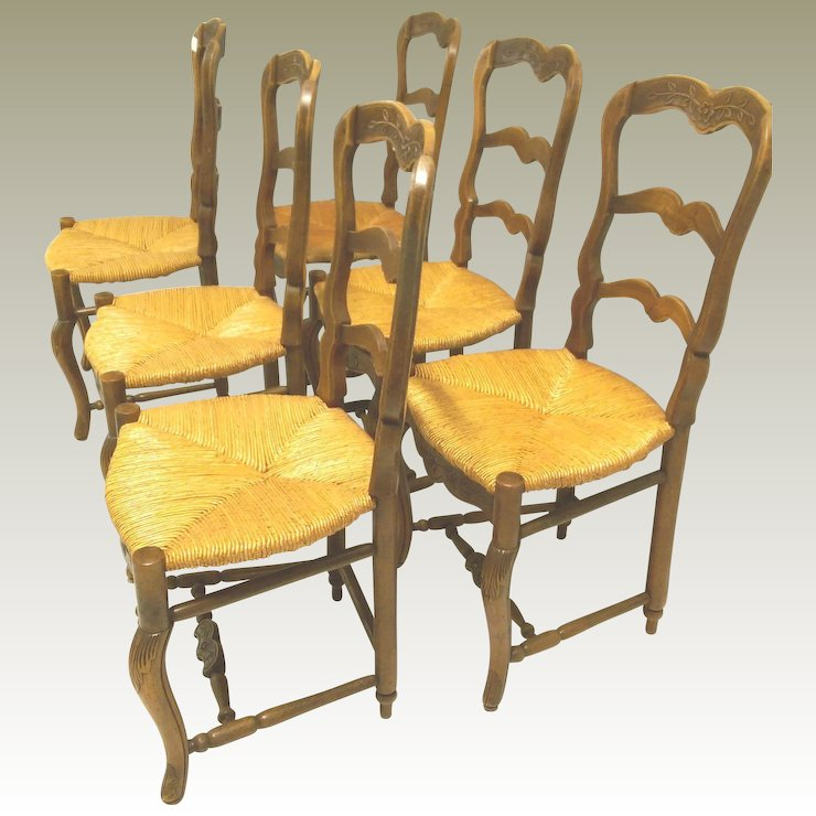 6 Antique French Rush Seat Chairs Turned Footrest C. 1900 & 6 Antique French Rush Seat Chairs Turned Footrest C. 1900 : Maison ...