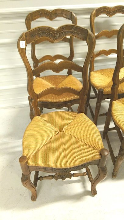 6 Antique French Rush Seat Chairs Turned Footrest C. 1900