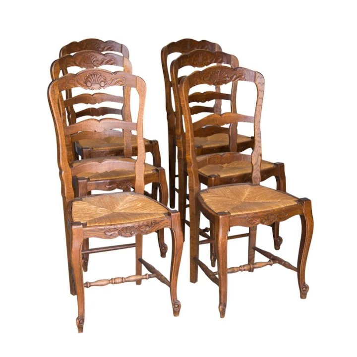 Charmant 6 French Antique Rush Seat Chairs