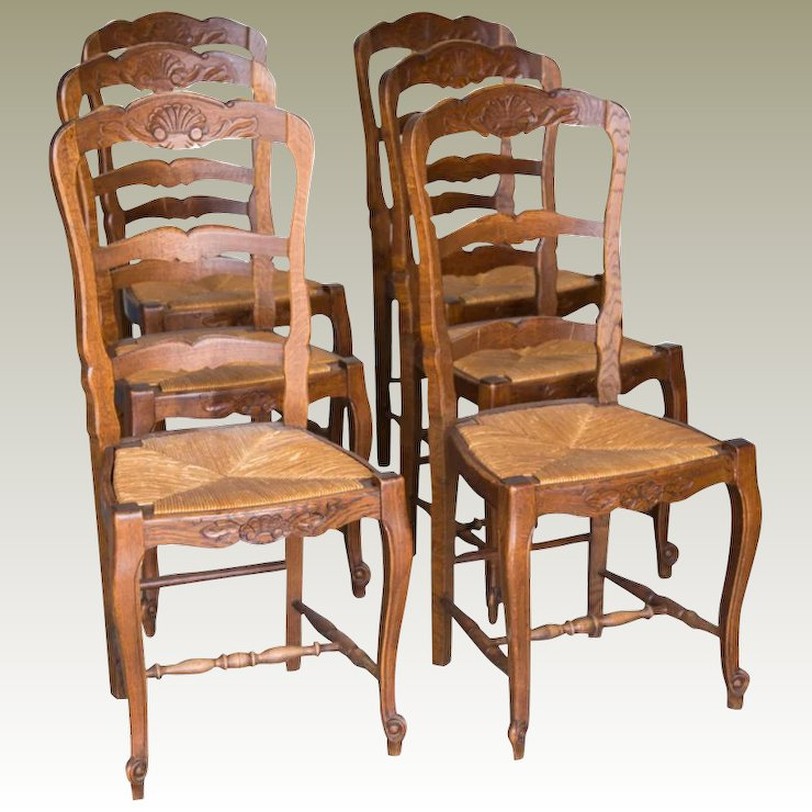 6 French antique rush seat chairs & 6 French antique rush seat chairs : Maison Décor - French Antiques ...