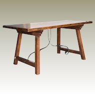 Spanish Beech Farm Table Iron Stretcher 19th C.