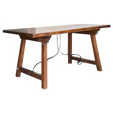 Spanish Beech Farm Table Iron Stretcher 19th C.