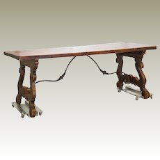 19th Century Spanish Farm Table Iron Stretcher Harp Legs