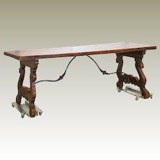 19th Century Spanish Farm Table Iron Stretcher Harp Legs