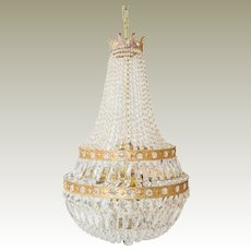 French Empire Style Crystal Chandelier Sack of Pearls C 1900