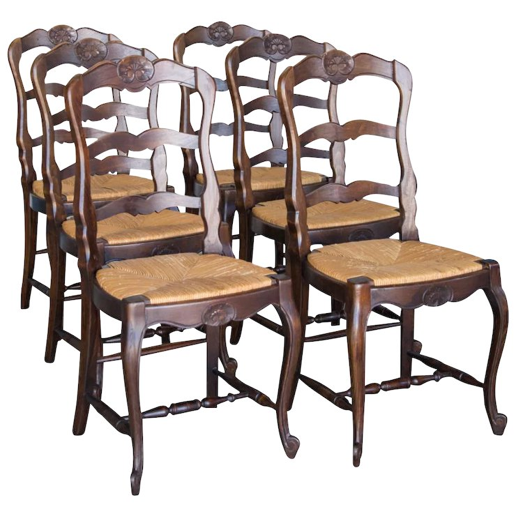 Recently Sold on Ruby Lane - 6 Antique French Rush Seat Chairs Shell Motif Cabriole Legs C. 1900