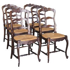 6 Antique French Rush Seat Chairs Shell Motif Cabriole Legs C. 1900