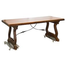 Spanish Trestle Table  Iron Stretcher Slab Top C. 1890