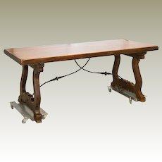 Spanish Trestle Table  Iron Stretcher Slab Top C. 1890