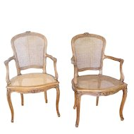 Pair Antique French Louis XV Walnut Cane Accent Chairs