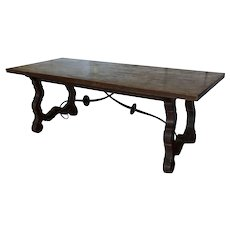 19th Century Spanish Trestle Farm Table