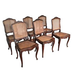 Six vintage French Louis XV cane side chairs