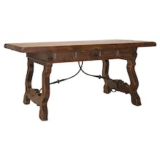 19th Century Spanish Farm Table in Walnut
