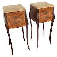 Pair 19th Century Louis XV Bombe Commode Nightstands Side Table