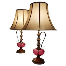 Mid-Century Pair Pink Cranberry Glass Genie Bottle Hookah Style Lamps