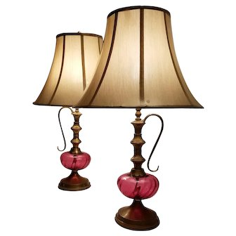 Mid-Century Pair Pink Cranberry Glass Stylized Hookah Lamps