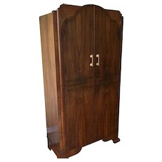 Vintage Mahogany Art Deco Wardrobe Armoire