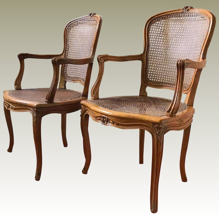 Antique French Walnut Caned Louis XV Occasional Chairs - Antique French Walnut Caned Louis XV Occasional Chairs : Maison