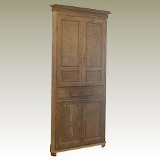 18th Century Washed Oak Corner Cabinet