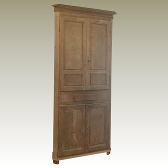 18th Century Washed Oak Corner Cabinet