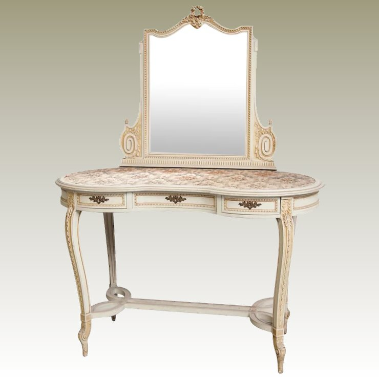Vintage Vanity Dressing Table with Mirror from Belgium castle - Vintage Vanity Dressing Table With Mirror From Belgium Castle