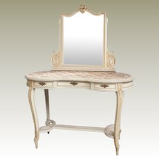 Vintage Vanity Dressing Table with Mirror from Belgium castle