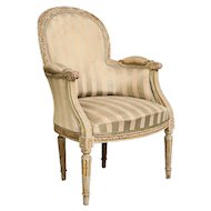 Vintage Bergere Chair with original fabric from Belgium