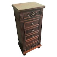 Early 20th Century Walnut Jewelry Cabinet or Night Stand