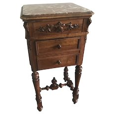 Vintage French Walnut Chevet Nightstand