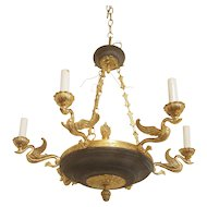 Regency style chandelier with classic brass swans