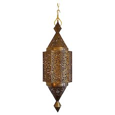 Monumental Vintage Moroccan Style Brass Lantern