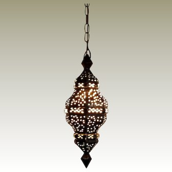 Antique Moroccan Brass Hanging Lantern