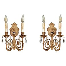 Hollywood Regency Limoges Sconce Pair