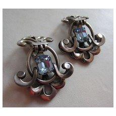 NAPIER Dramatic c. 1950's Faux Aquamarine Earrings