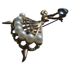 Soaring Art Deco Ballerina Brooch with Simulated Pearls and A Rivoli Stone