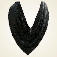Rare Whiting & Davis Black Mesh Necklace