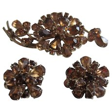 SHERMAN Tones of Topaz Rhinestone Set of Flower Brooch and Matching Earrings