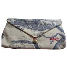 Blue and Cream Toile Fabric Exclusive BIJOUX Design Jewelry Jewellery Bag