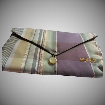 Purple, Green, Gold Striped Fabric Exclusive BIJOUX Jewelry Jewellery Bag