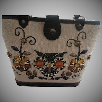 ENID COLLINS Texas Wise Guy Owl Motif Purse Handbag, c. 1970's