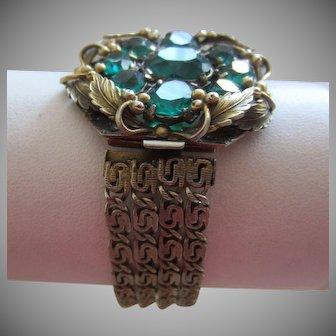 Dramatic Coro Green Paste and Multi Chain Bracelet, c. 1930's