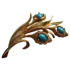 DeNicola Brushed Gold Tone Metal and Simulated Turquoise Flower Brooch, 1960's