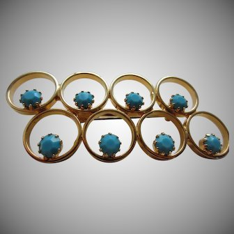 Stylish Golden Rings and Faux Turquoise Stones Brooch, c. 1960's